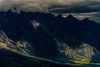 """A Light on The Mountains of Shadow<br /> The Remarkables, Queenstown<br /> This mountain range was used as a reference for the Ephel Duath in the motion picture """"The Return of The King""""."""