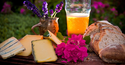 Some of the finest of England, specialty cheeses from the Axminster Canteen owned by Hugh Fearnley-Whittingstall, ale from Rick Stein in Cornwall (Chalky's Bite) and flowers from our great friends Jerry and Galina's garden in Essex.