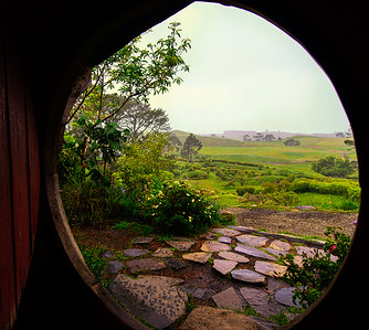 Sheltering from the rain Hobbiton Movie Set