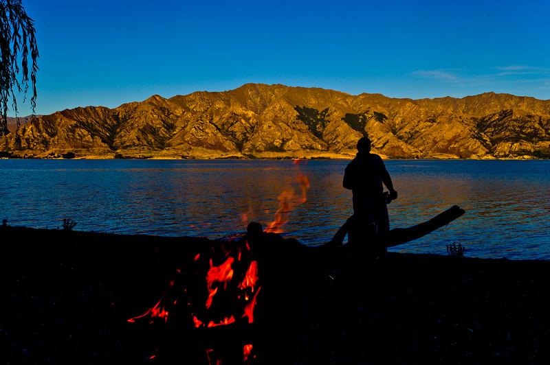 Summer + Beach + Fire + Lake Hawea = Bliss.