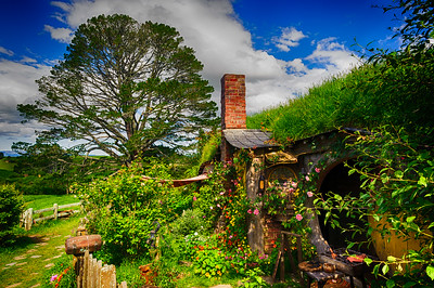 Roses at the Door Hobbiton Movie Set Matamata New Zealand
