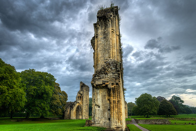 Staring in awe at the Walls of Dreams Glastonbury Abbey