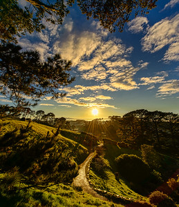 A Shire Path at Sunrise.