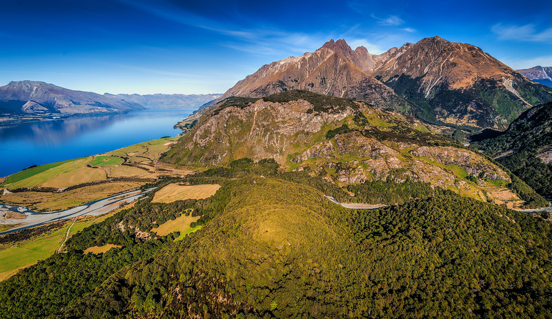 Looking  down on Dunharrow<br /> Greenstone<br /> Lake Wakatipu<br /> Queenstown