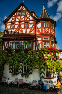 A wine outside the Alte Haus Bacharach Germany