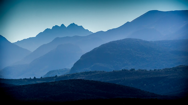 Shades The blues in the mountains from Lake Te Anau Te Anau New Zealand