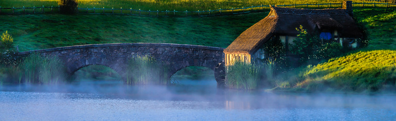 The Mill and Bridge at Sunrise Hobbiton Movie Set