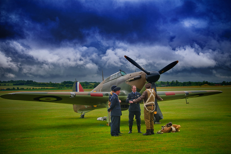 """""""Apres Moi Le Deluge""""<br /> An American Eagle pilot with his Hurricane<br /> December 1940<br /> Duxford."""