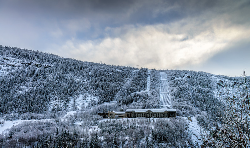A view across the valley into history<br /> Norsk Hydro<br /> Rjukan<br /> Telemark<br /> Norway