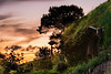It was sunset Time for dinner and relaxation. The door was shut. Bag End Hobbiton Movie Set