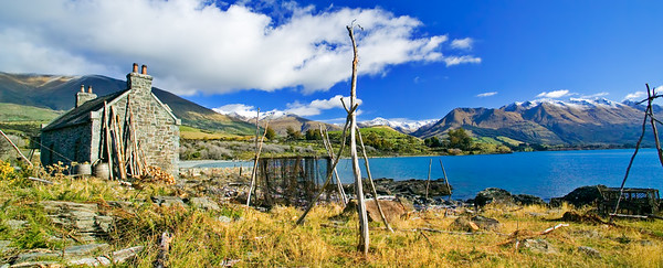 """Crofters Hut built on the shores of Lake Wakatipu for the film """"The Waterhorse""""."""