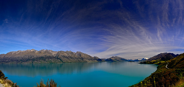 The Most Beautiful Drive In The World  An 18 image panorama taken on the road between Queenstown & Glenorchy.