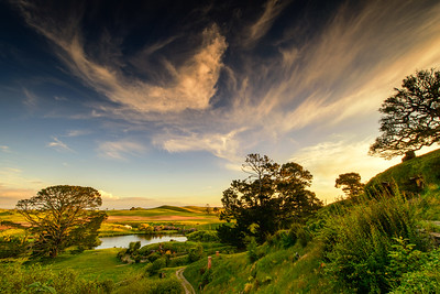 Sunset from Bag End Hobbiton Movie Set