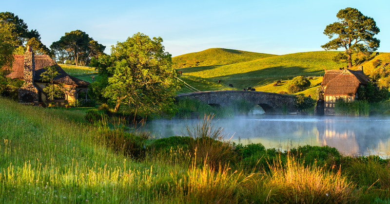 A Misty Morning with Green<br /> Hobbiton Movie Set