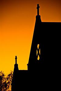Sunset and Church Martinborough, New Zealand