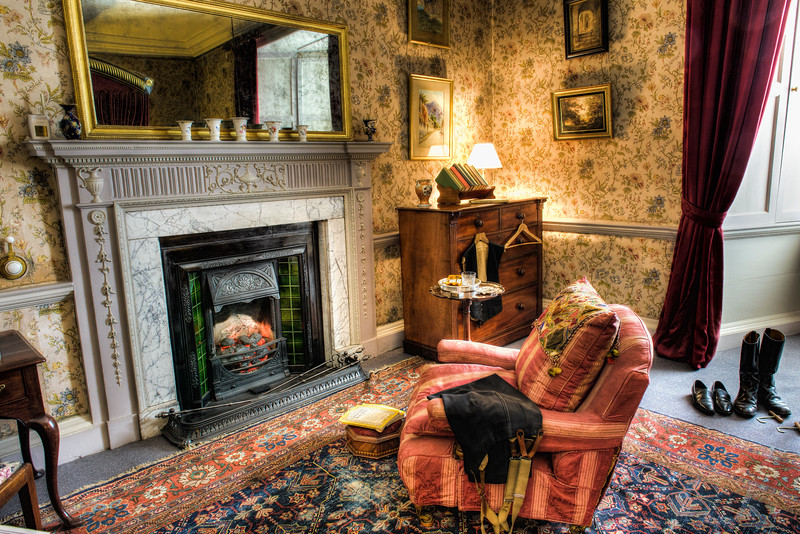 National Geographic in Front of the Fire<br /> Dunster Castle<br /> Dunster<br /> England