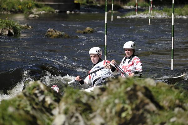 Fairnilee slalom, Div 2/3/4 Double at Yair Bridge, River Tweed, GALASHIELS, UK.