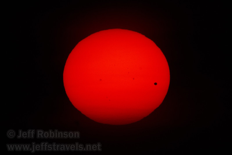 The Transit of Venus with sunset approaching. Shot with Olympus 1000mm lens @f16 with a Seymour Solar 475 glass filter (6/5/2012 - Folsom, CA)