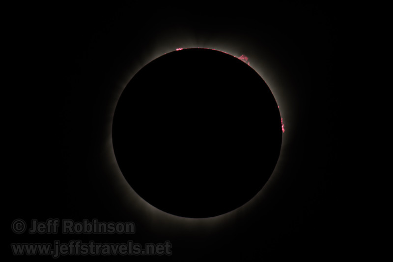 A short exposure during totality, allowing you to see the pink fringes (that I believe are solar flares, but if you know better, please correct me). (8/21/2017, 6152 Northwest Danube Dr., Madras eclipse trip)<br /> EF400mm f/5.6L USM +2x III @ 800mm f11 1/250s ISO100