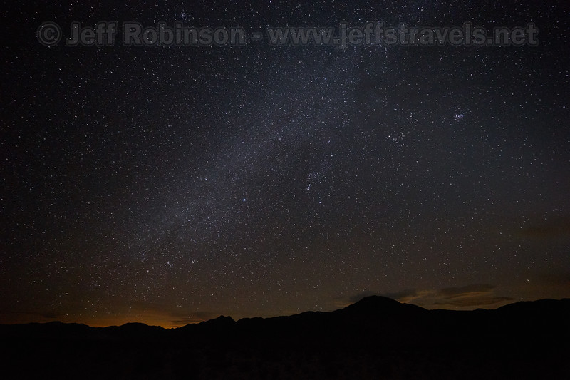 Stars: southerly view with Sirius as the bright star near the center by the edge of the Milky Way. Photographed from the end of the pavement on Death Valley Rd. (3/10/2016, Eureka Dunes drive, Death Valley trip)<br /> EF11-24mm f/4L USM @ 11mm f4 30s ISO6400