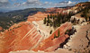 Red-orange, pinks, and whites of the amphitheatre under partly-cloudy blue sky (9/2/2013, Sunset View Overlook, Cedar Breaks NM, 2013 Utah)<br /> EF24-105mm f/4L IS USM @ 24mm f/9 1/500s ISO200