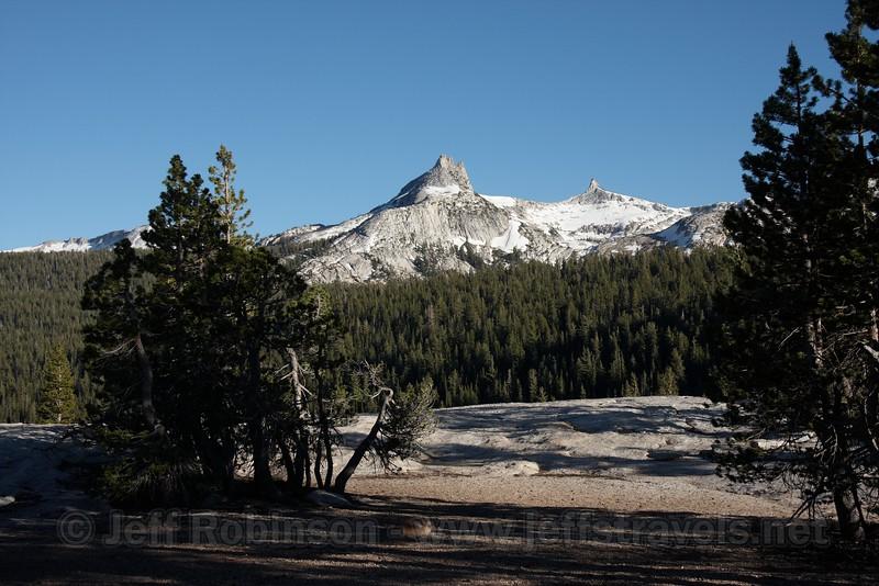 Unicorn Peak framed by pine trees on the top of Pothole Dome. (7/9/2010, Pothole Dome hike, Yosemite NP)