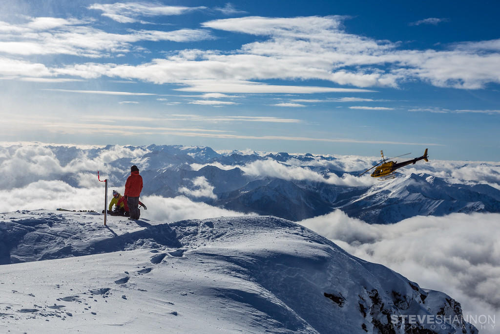 Heli skiers are dropped off on Mount Brennan (2900m) near Kaslo, British Columbia.