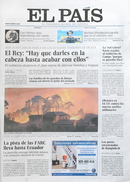 """Portada en """"El Pais"""" incendio de Fuencaliente 2009"""