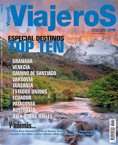 """Portada  y reportaje de Argentina en la revista """"Viajeros"""""""