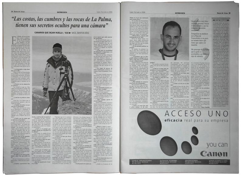 Entrevista y reportaje en El diario de Avisos de Tenerife.