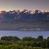 Villa La Angosturta al amanecer, Neuquen, Region de Los Lagos. Patagonia Argentina
