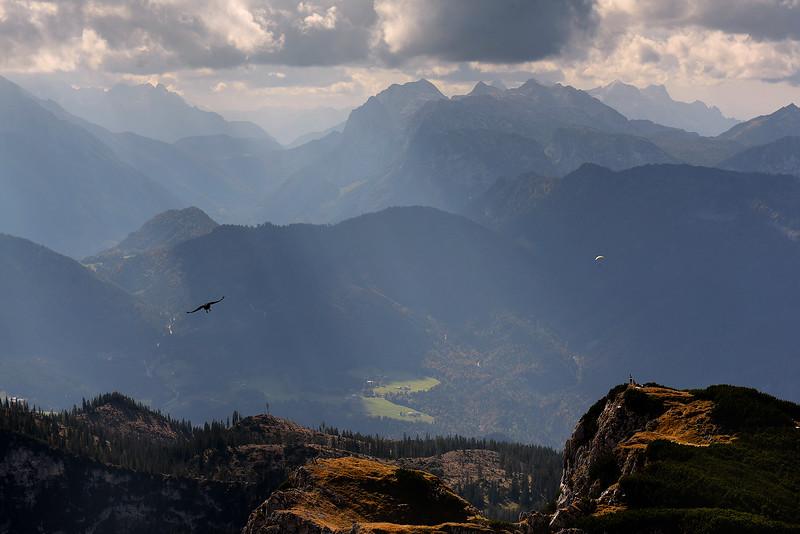 Vistas al amanecer desde Untersberg, Salzburgo, Austria