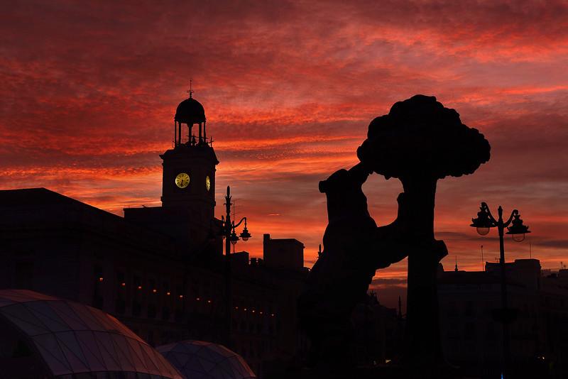 Atardecer en La PUerta del Sol, Madrid