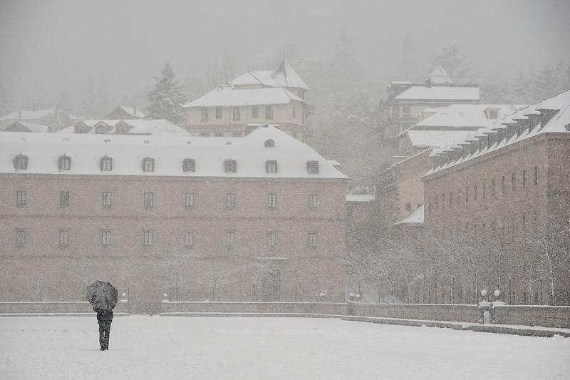 Nevando en el  El escorial. Madrid