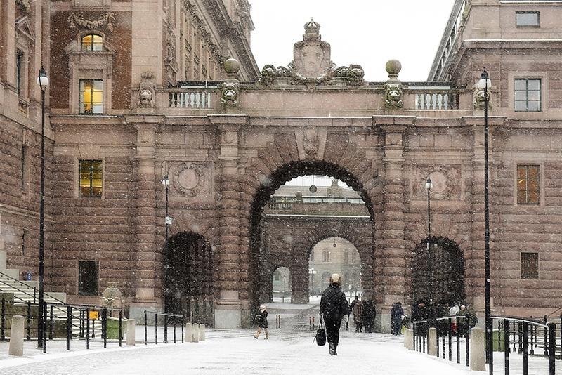 Nevando en Stockholm, Sweden