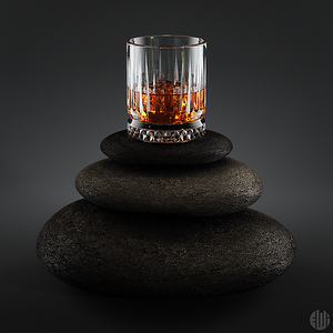 3D Whisky on the rocks