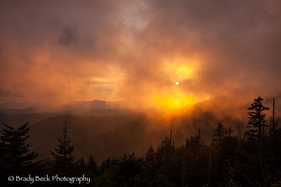 Foggy sunset at Clingman's Dome