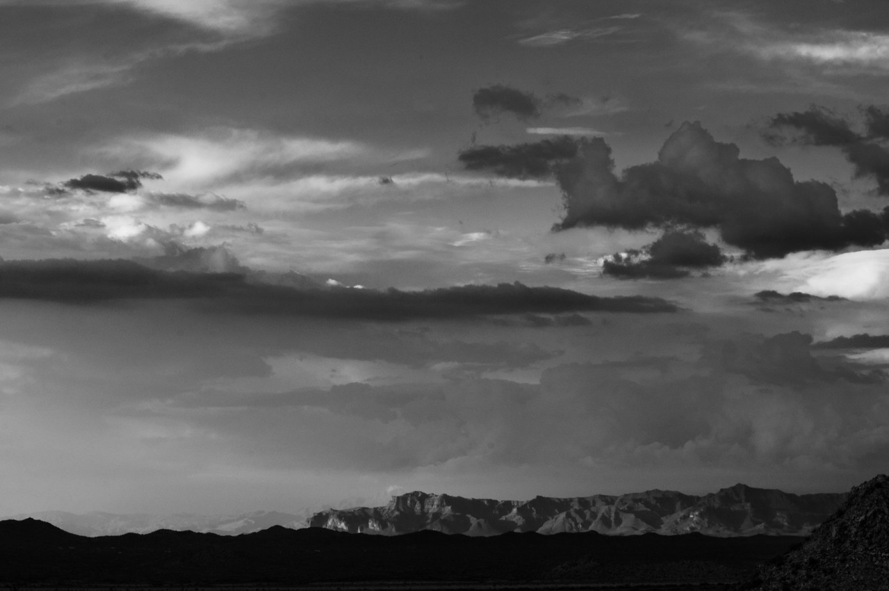 Superstition Mountains at last light.