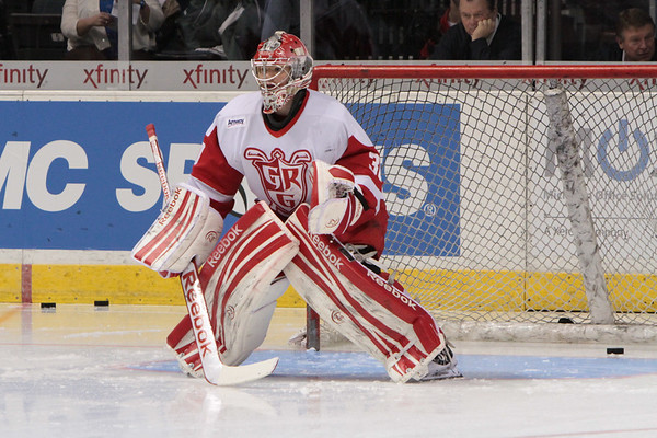 #30 Tom McCollum - Goalie Grand Rapids Griffins warms up.