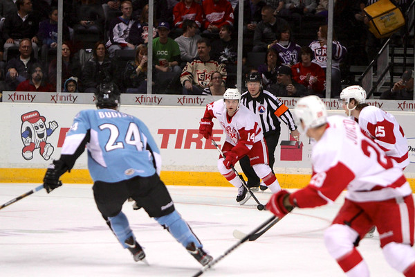 #14 Chad Billins with the puck with Griffins #25 Calle Jarnkrok  and #28 Tomas Jurco