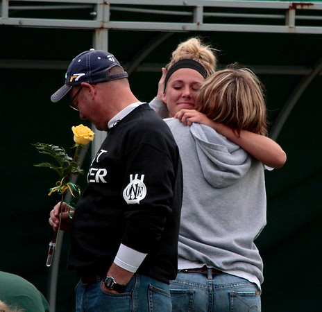 Zeeland West Soccer Senior #14 Shelbi Lowe and her mother.