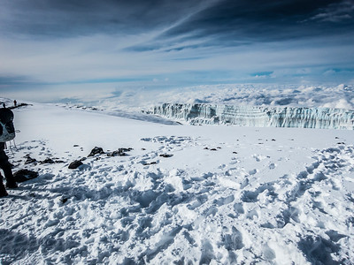 Another shot of the huge glaciers along the crater summit. They seemed close enough to walk out to and touch yet they are very far away. Their size confuses the distance.