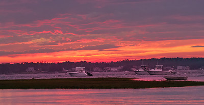 Red sky at Gray Gables (entrance to Cape Cod Canal)
