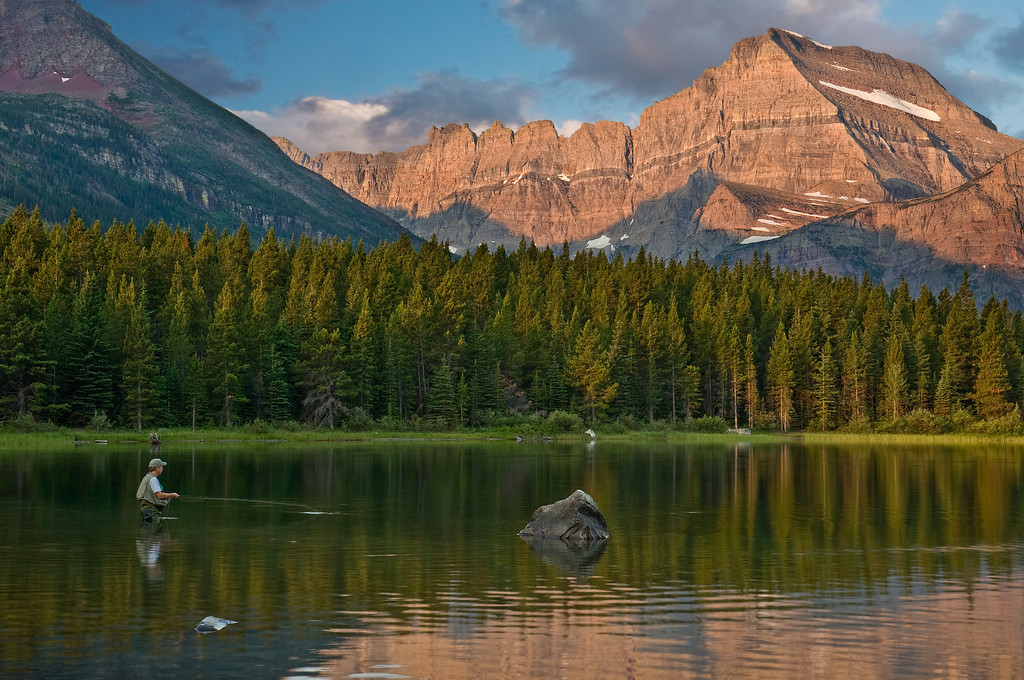 Fisherman's Bliss<br /> Swiftcurrent Lake at Many Glacier, Glacier National Park
