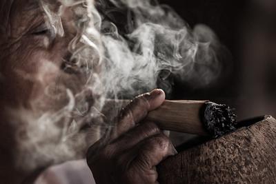 Old woman smoking