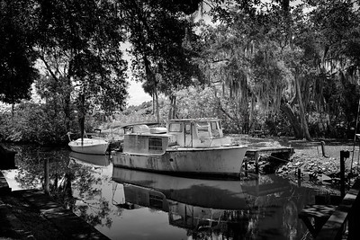 Boat at dock 994 bw