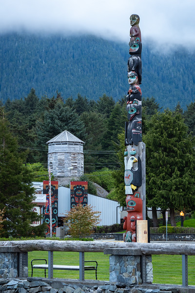 Sitka: Town totem pole, tribal meeting house