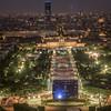 Eiffel Tower Night View: Southeast. Euro '16 Fan Zone