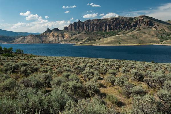 Colorado; Curecanti National Recreation Area; Dillon Pinnacles; Gunnison River; river The Dillon Pinnacles are an impressive sight along the Blue Mesa Reservoir of the Gunnison River.