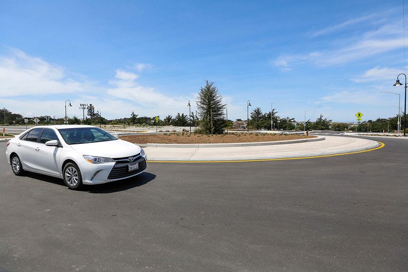 A car navigate through newly completed roundabout at Del Monte Blvd. and Beach Road on Tuesday, April 25, 2017 in Marina, Calif. (Vernon McKnight/Herald Correspondent)